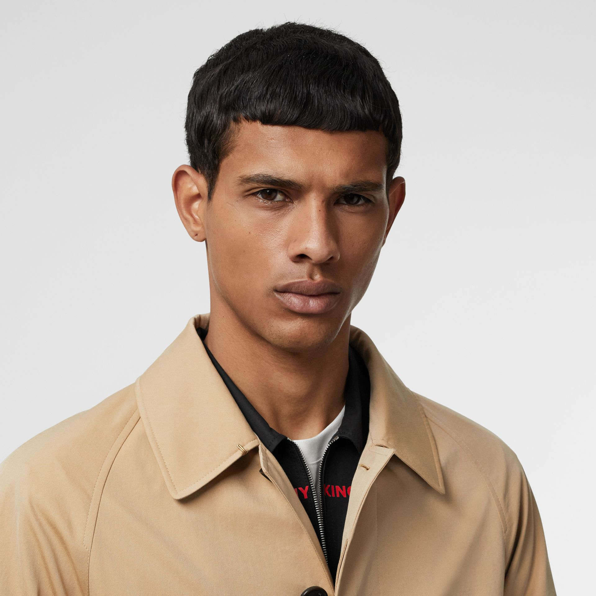 Icon Stripe Detail Tropical Gabardine Car Coat in Honey - Men | Burberry - gallery image 1