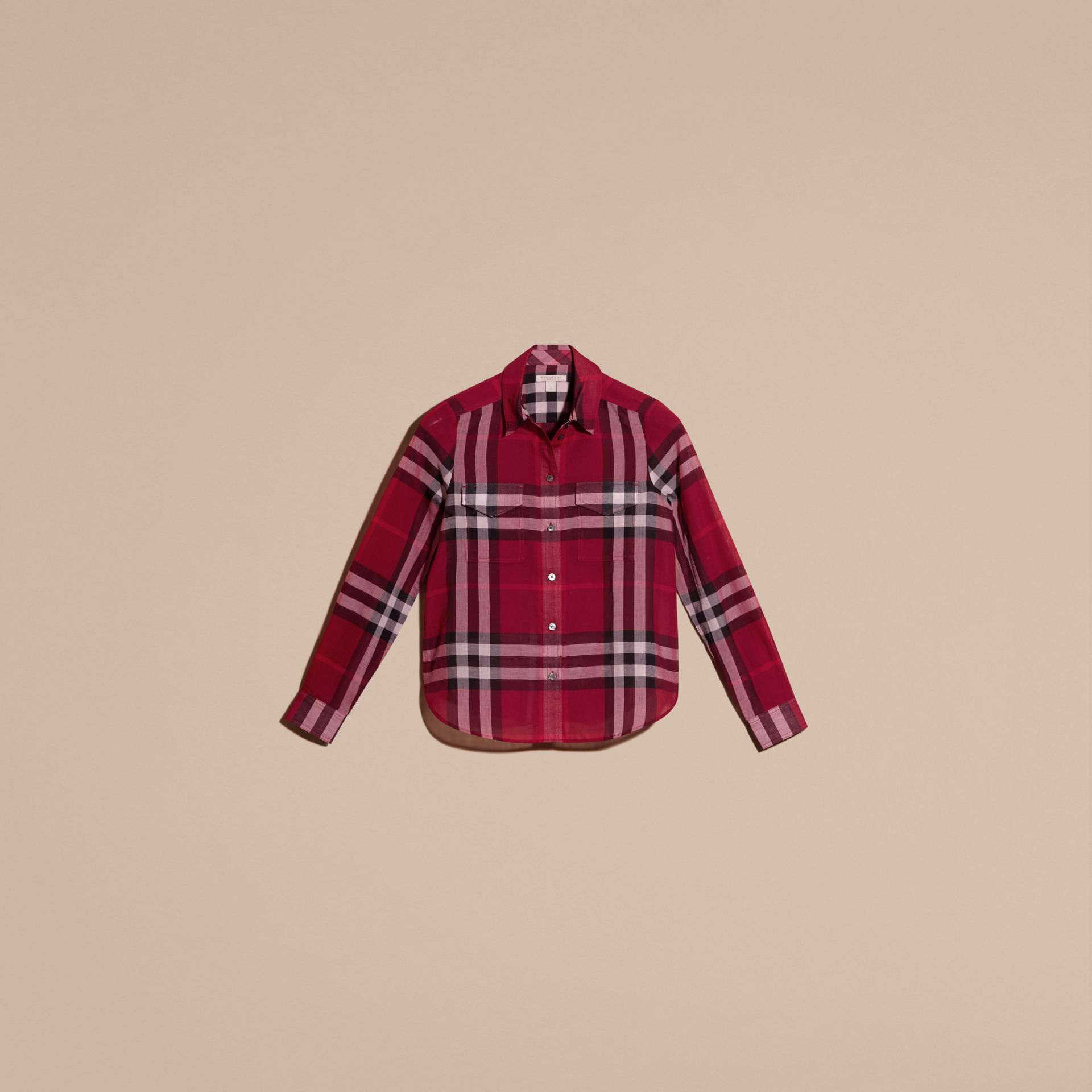 Poppy red Check Cotton Shirt Poppy Red - gallery image 4