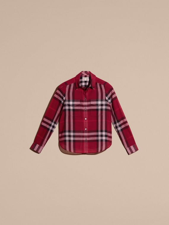Poppy red Check Cotton Shirt Poppy Red - cell image 3