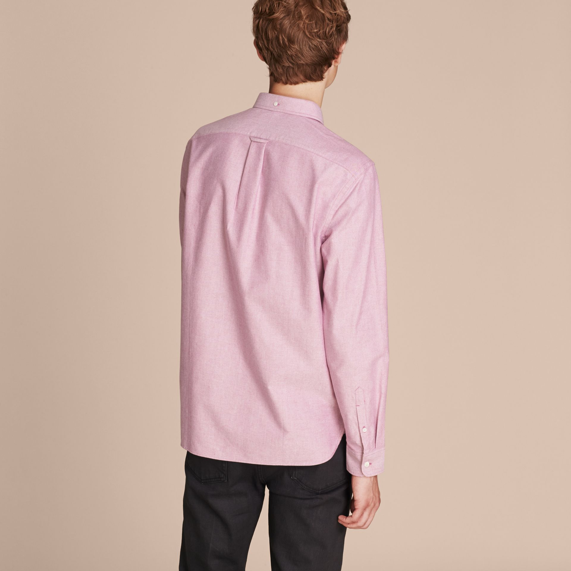 Check Detail Cotton Oxford Shirt Bright Rose - gallery image 3