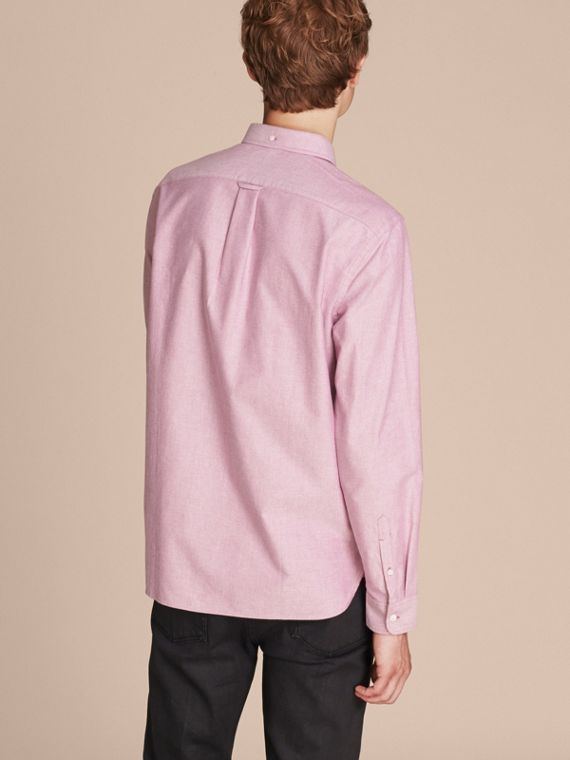 Check Detail Cotton Oxford Shirt in Bright Rose - Men | Burberry - cell image 2