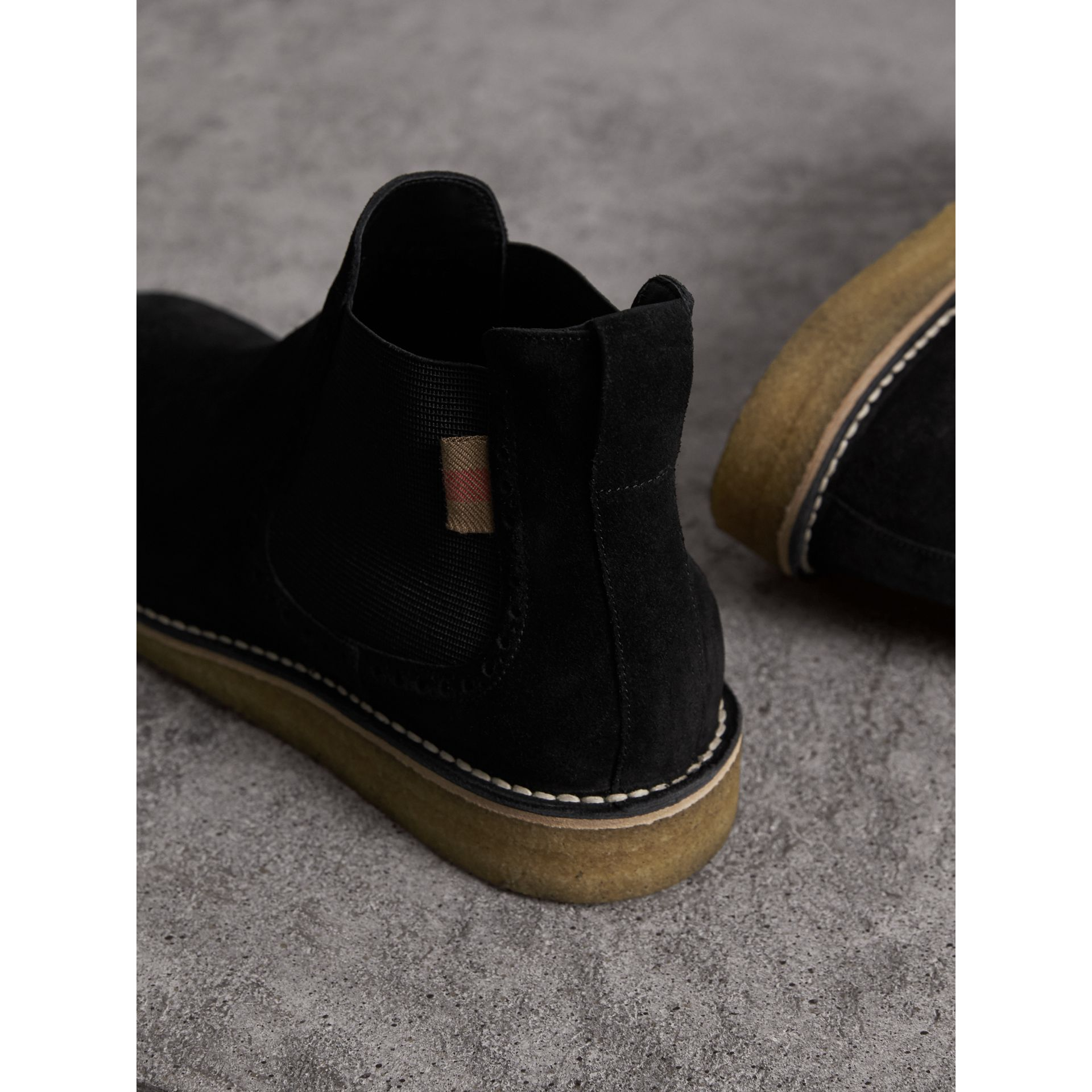 Brogue Detail Suede Chelsea Boots in Black - Men | Burberry United Kingdom - gallery image 4