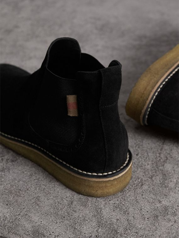 Brogue Detail Suede Chelsea Boots in Black - Men | Burberry United Kingdom - cell image 3