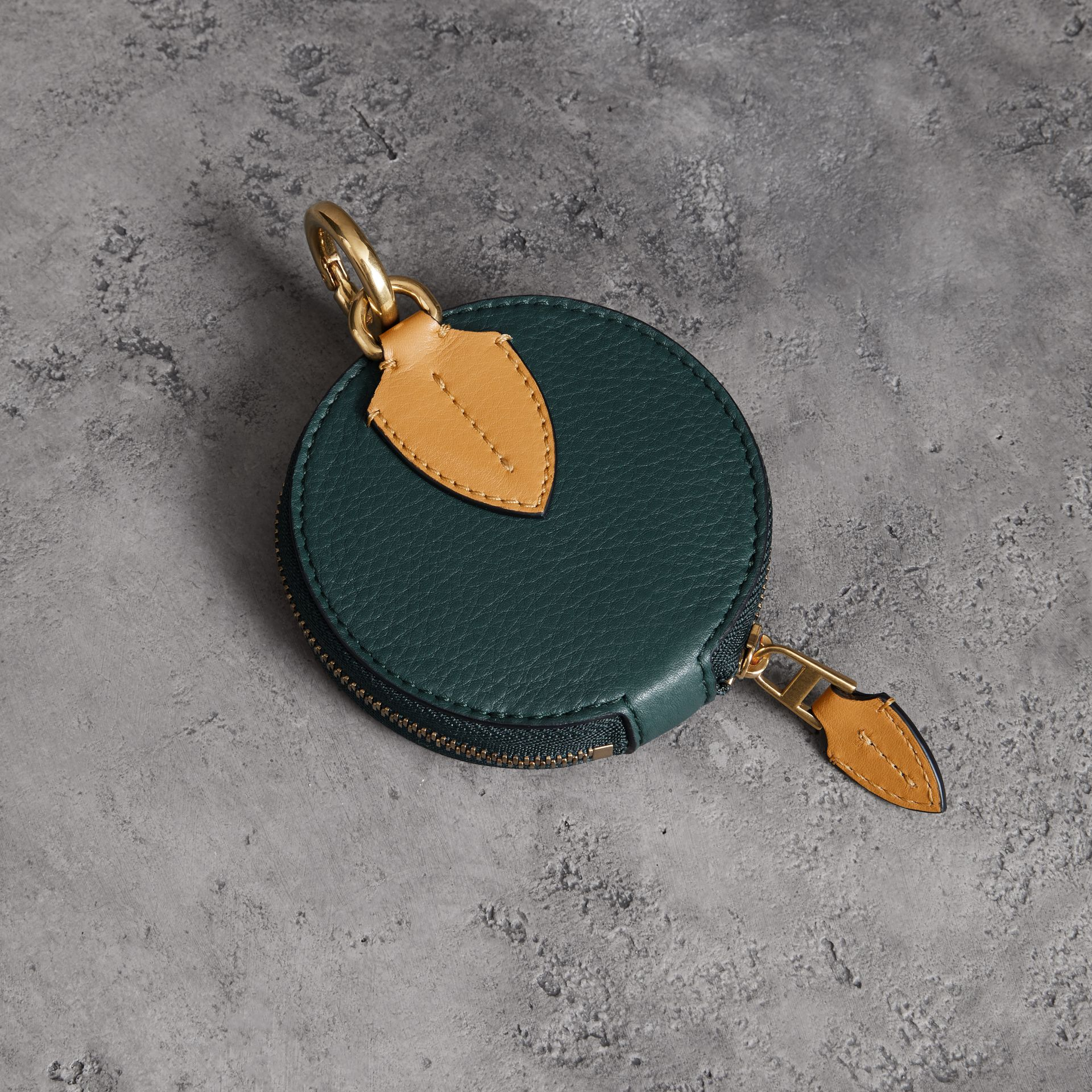Small Round Leather Coin Case in Dark Cyan/cornflower Yellow | Burberry United States - gallery image 0