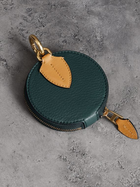 Small Round Leather Coin Case in Dark Cyan/cornflower Yellow