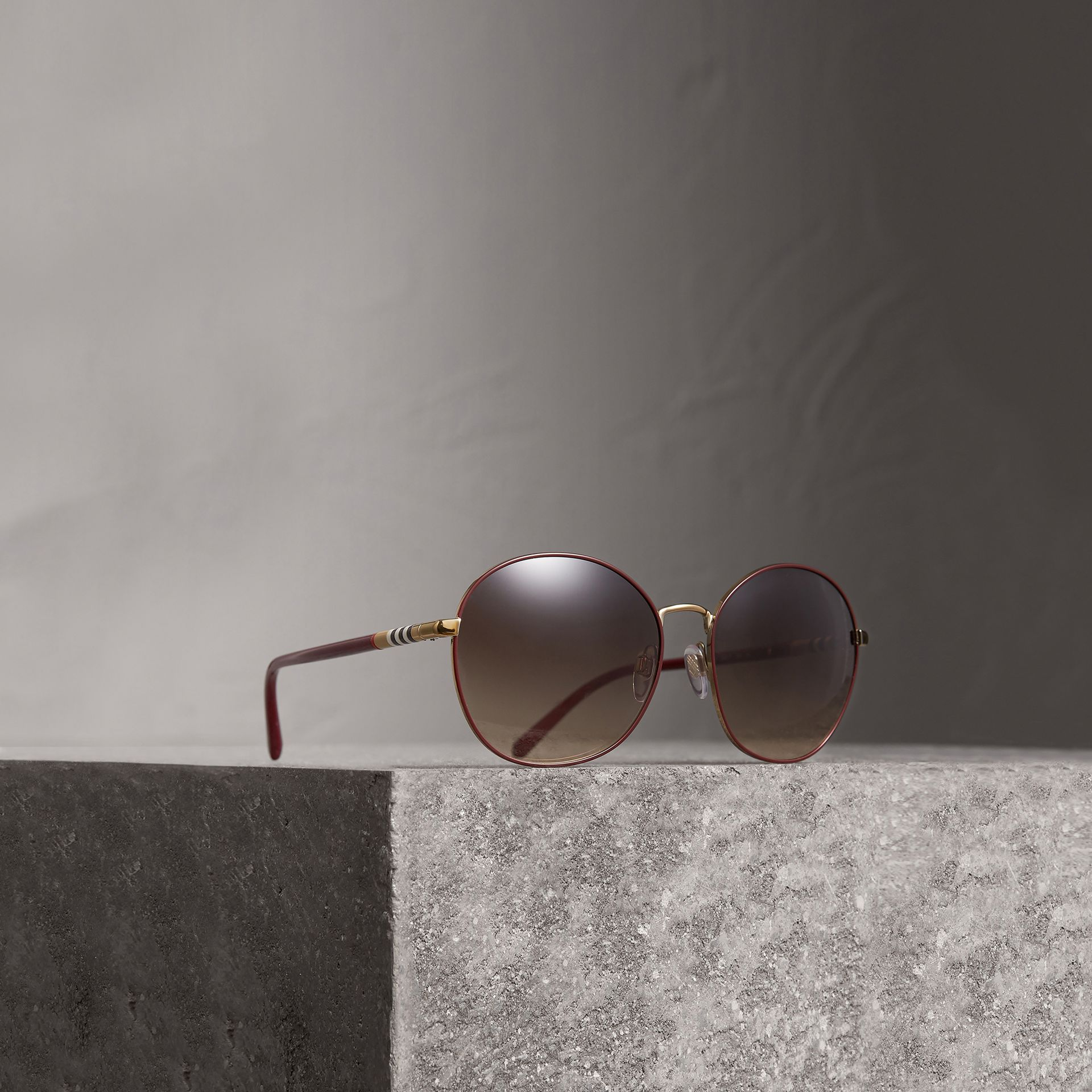 Check Detail Round Frame Sunglasses in Burgundy - Women | Burberry Australia - gallery image 0