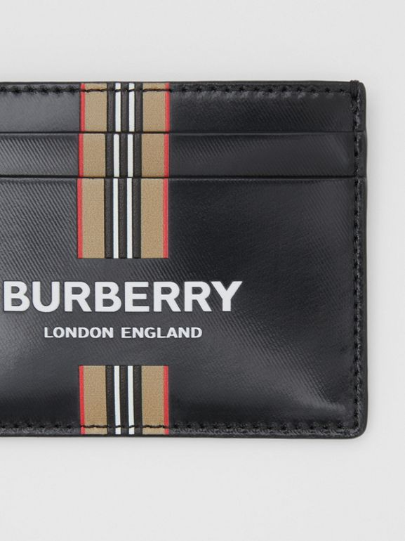 Logo and Icon Stripe Print Coated Canvas Card Case in Black | Burberry United Kingdom - cell image 1