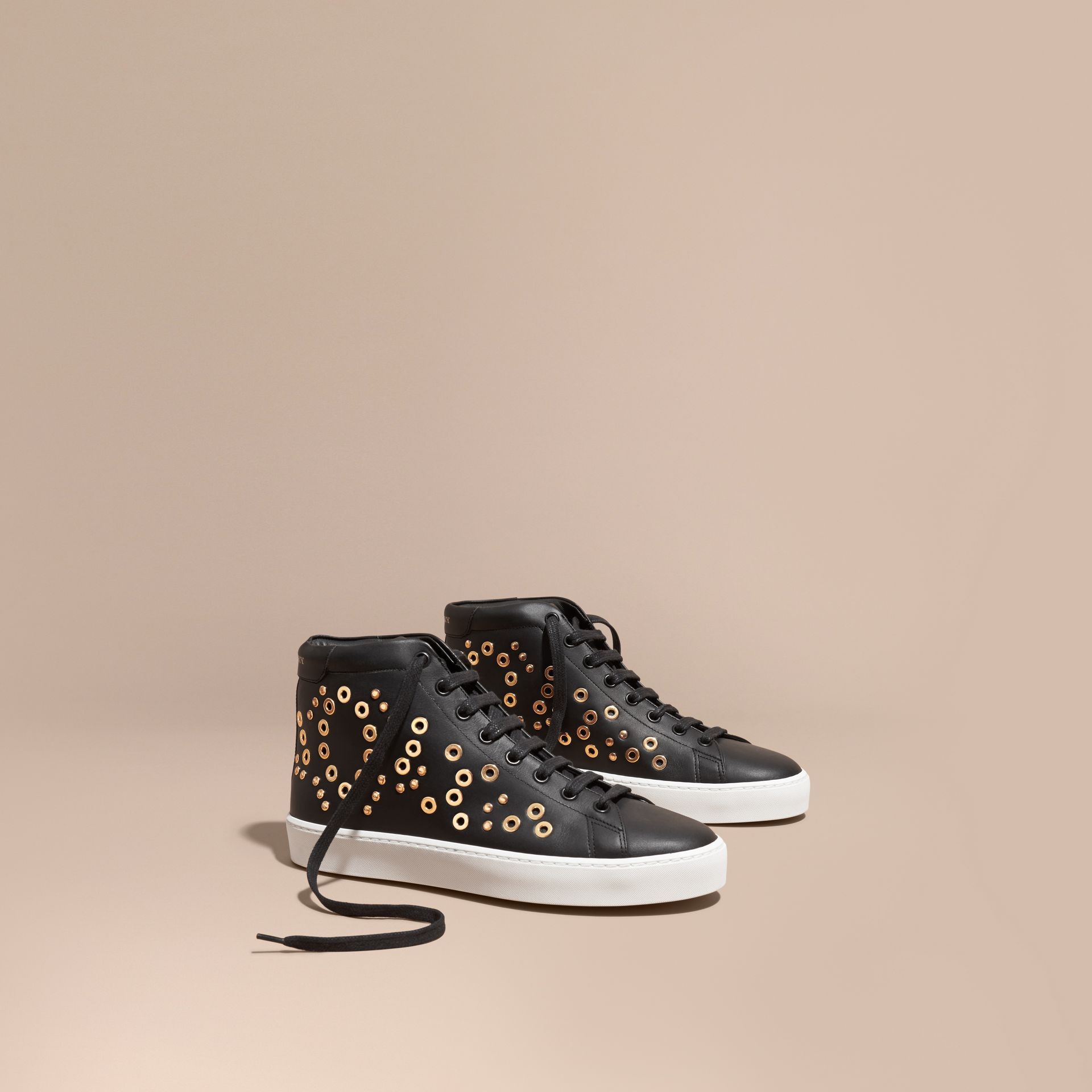 Black Rivet and Eyelet Leather High-top Trainers - gallery image 1