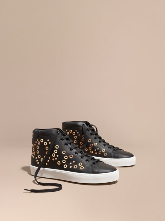 Rivet and Eyelet Leather High-top Trainers