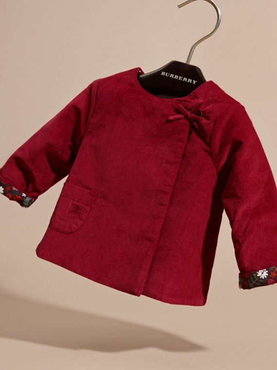 Damson pink Collarless Corduroy Jacket with Internal Quilting - cell image 2