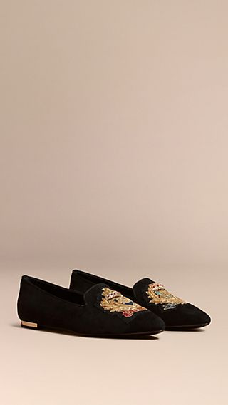 Embroidered Crest Suede Loafers