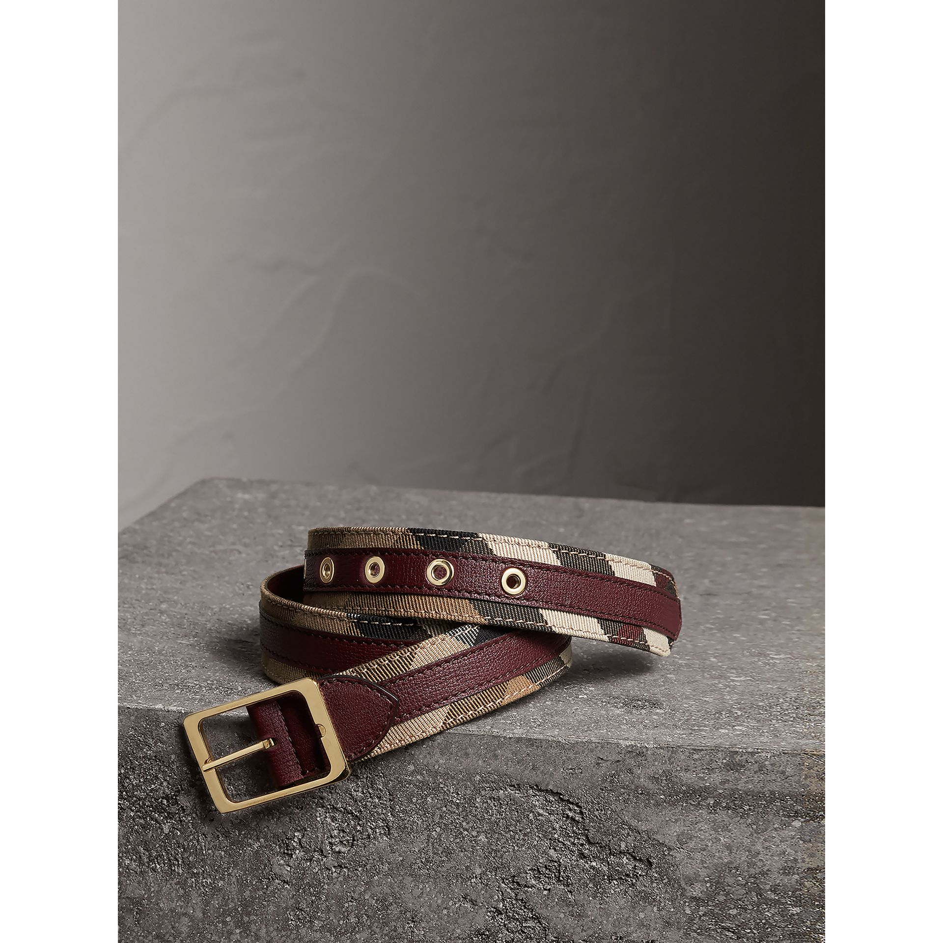 House Check and Grainy Leather Belt in Camel/mahogany Red - Women | Burberry Canada - gallery image 1