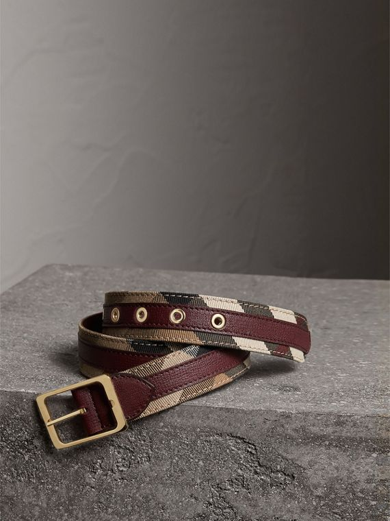 House Check and Grainy Leather Belt in Camel/mahogany Red
