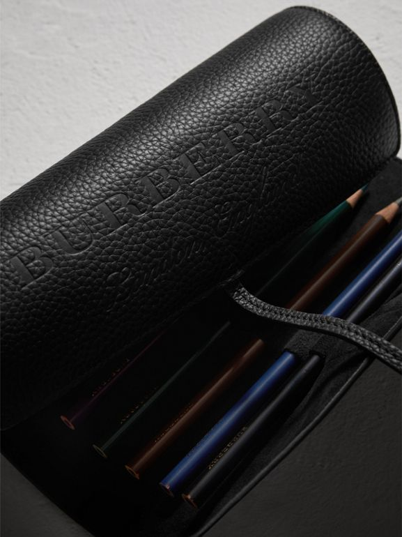 Embossed Grainy Leather Pencil Roll in Black | Burberry Canada - cell image 1