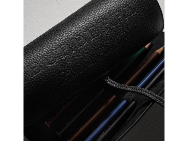 Embossed Grainy Leather Pencil Roll in Black | Burberry - cell image 1