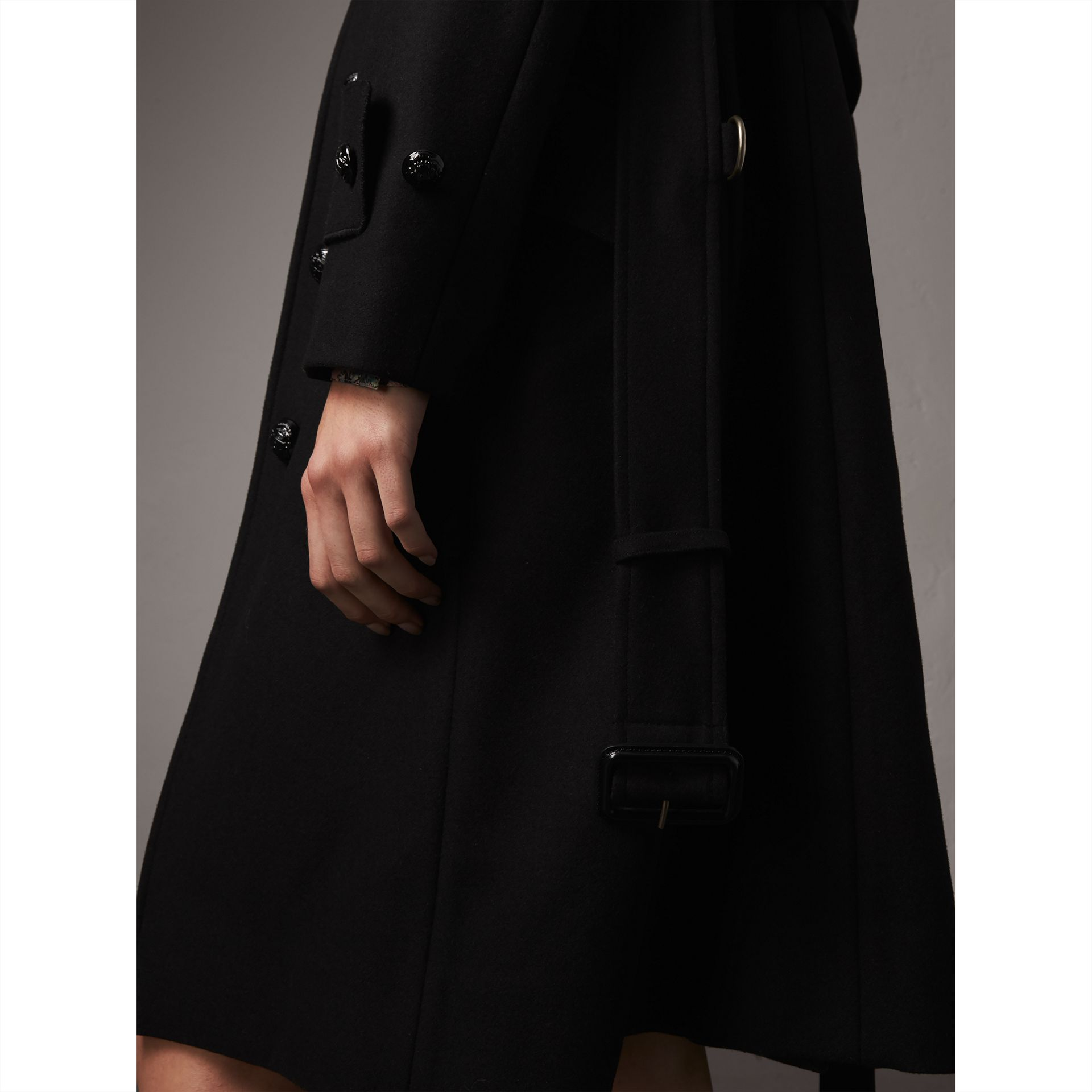 Hooded Wool Blend Coat with Detachable Fur Trim in Black - Women | Burberry Singapore - gallery image 2