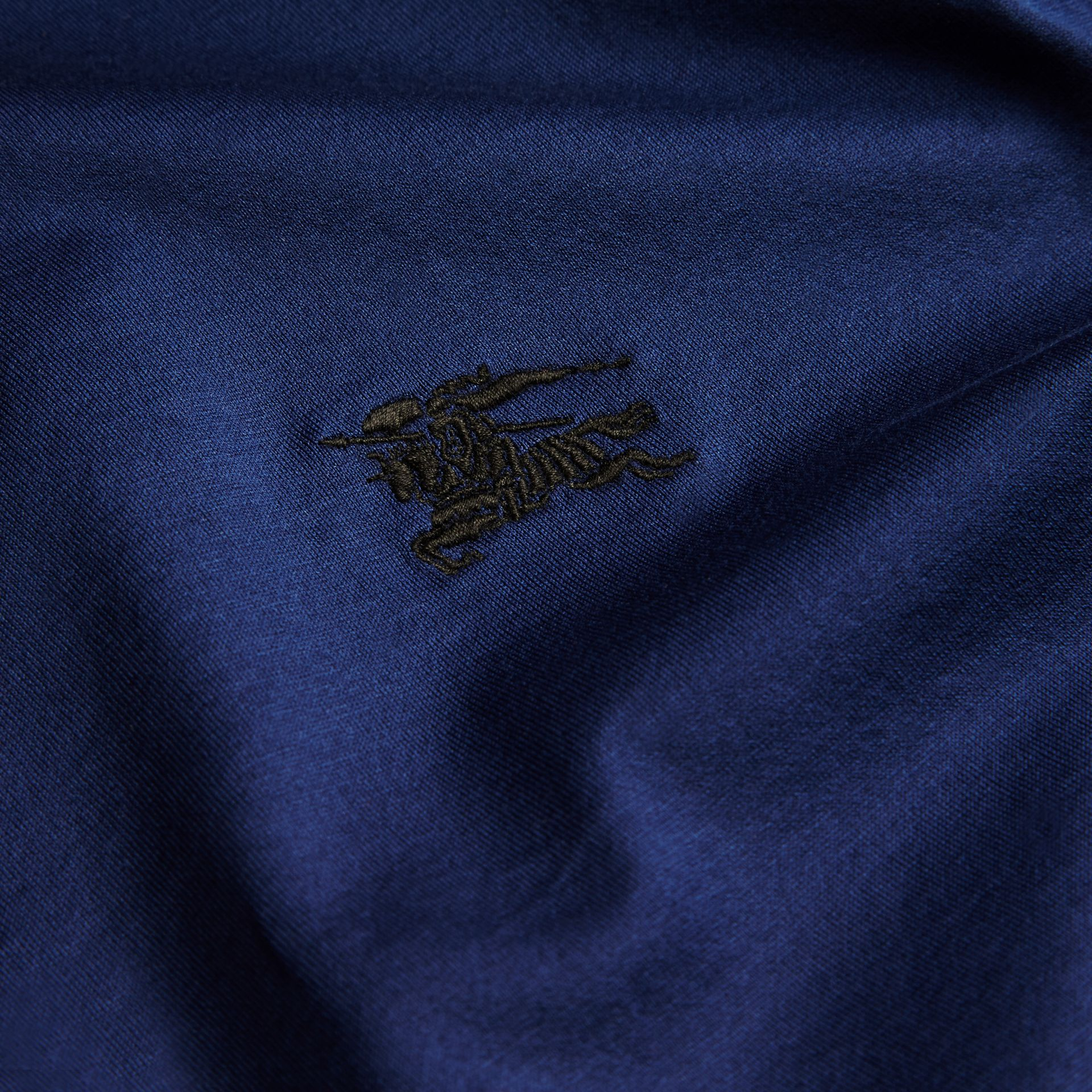 Indigo Fitted Cotton Polo Shirt with Tonal Trim Indigo - gallery image 2