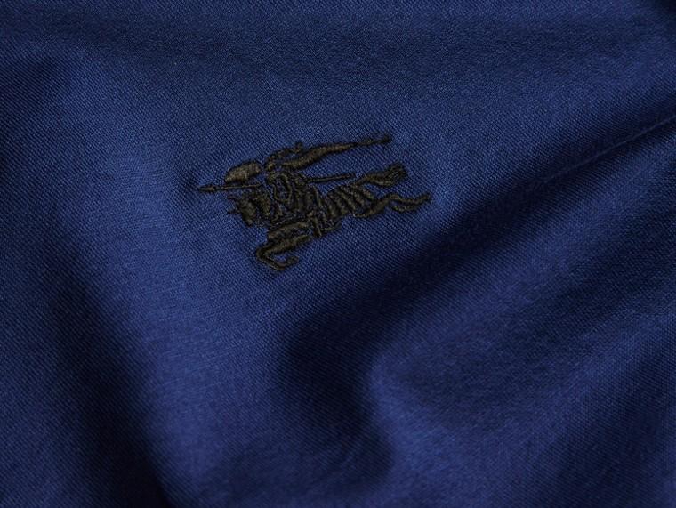 靛青 同色系飾邊合身棉質 Polo 衫 靛青 - cell image 1