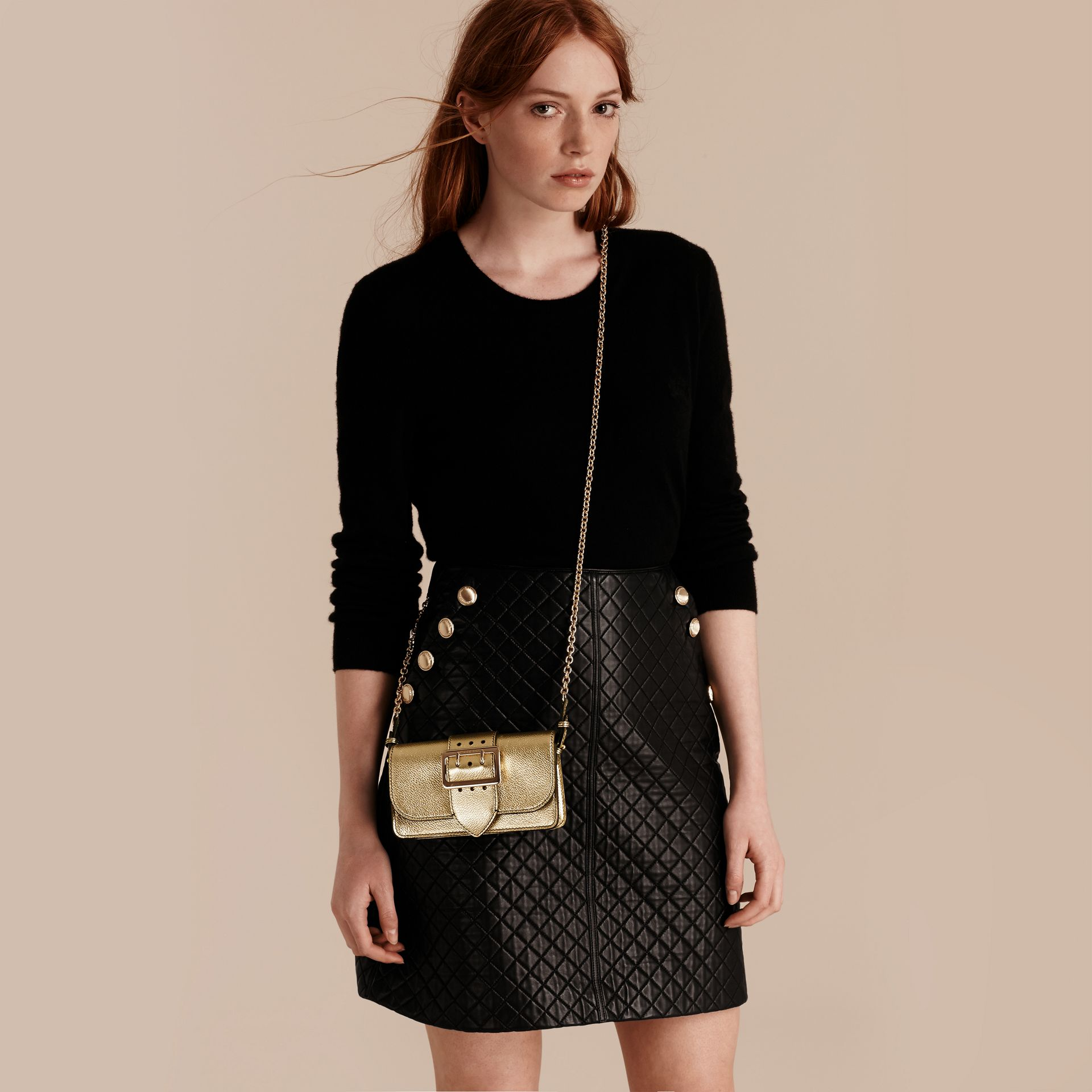 Gold The Mini Buckle Bag in Metallic Grainy Leather Gold - gallery image 3