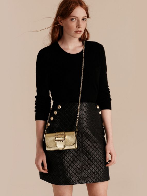 Gold The Mini Buckle Bag in Metallic Grainy Leather Gold - cell image 2