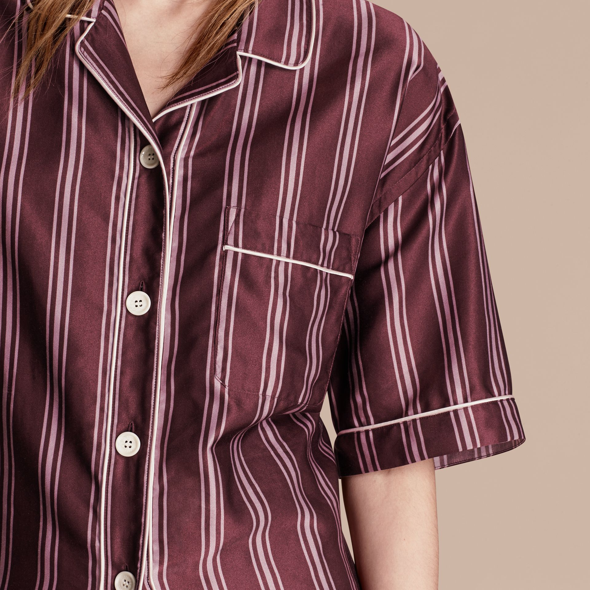 Crimson Short-sleeved Panama Stripe Cotton Silk Shirt - gallery image 5