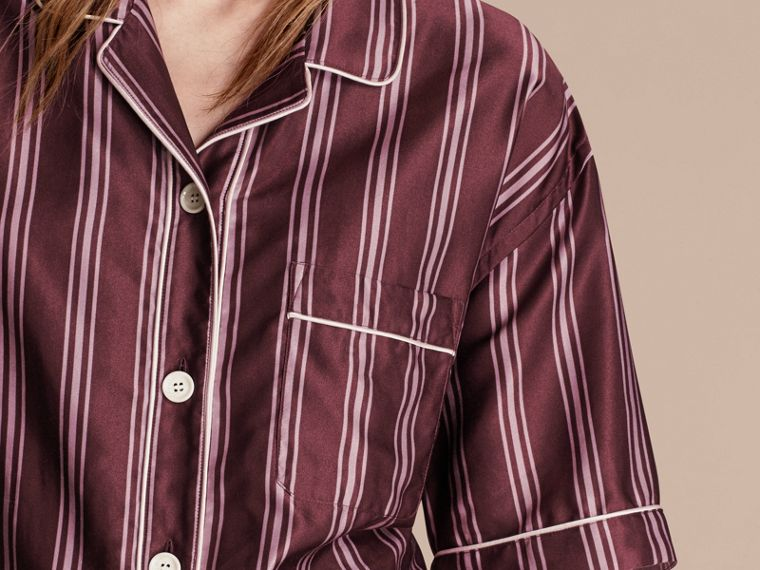 Crimson Short-sleeved Panama Stripe Cotton Silk Shirt - cell image 4