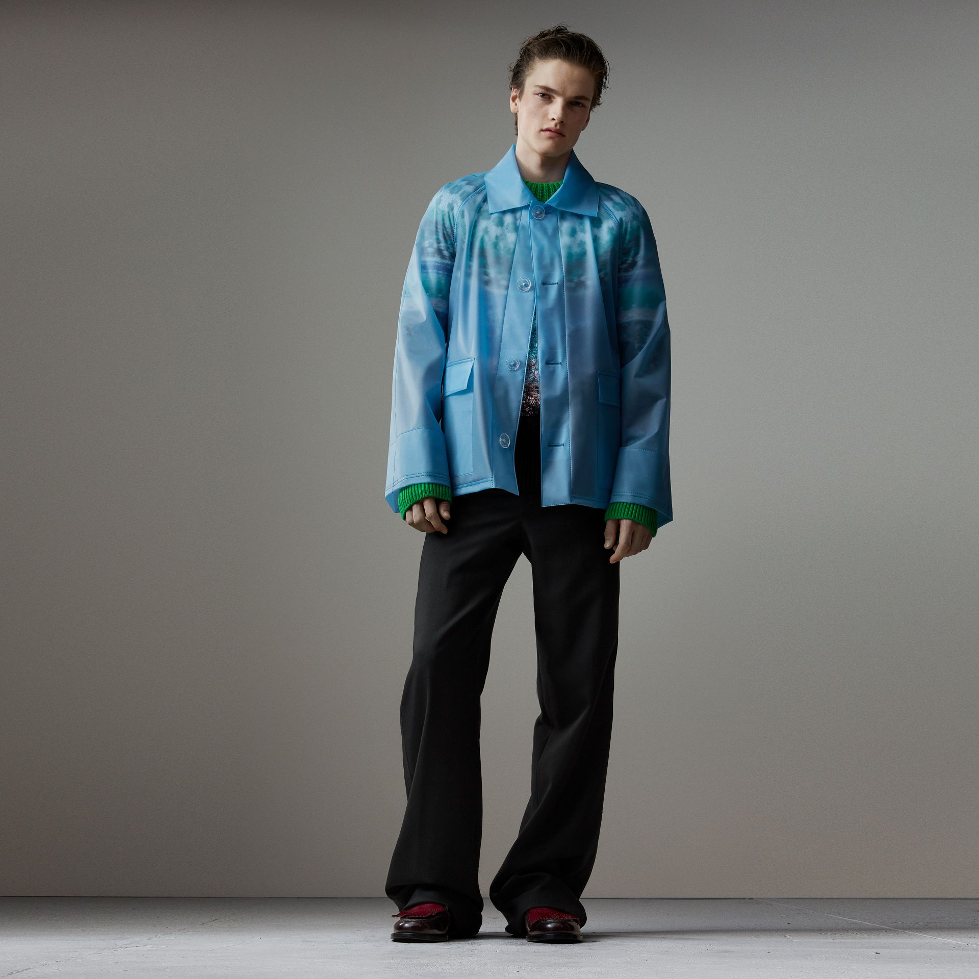 Soft-touch Plastic Jacket in Sky Blue - Men | Burberry - gallery image 0