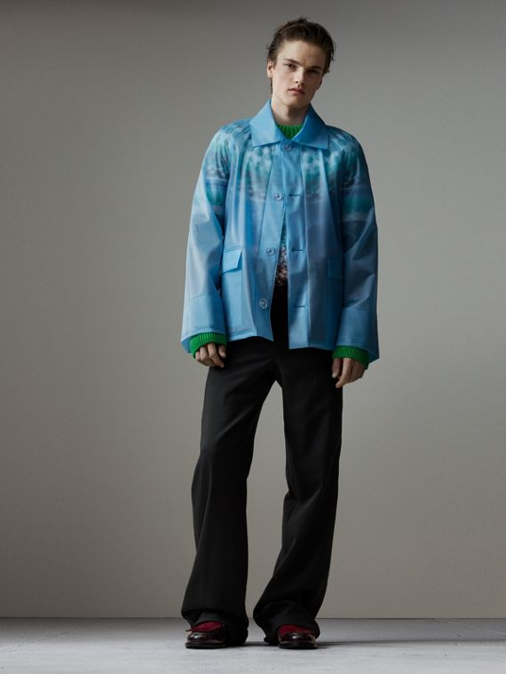 Soft-touch Plastic Jacket in Sky Blue