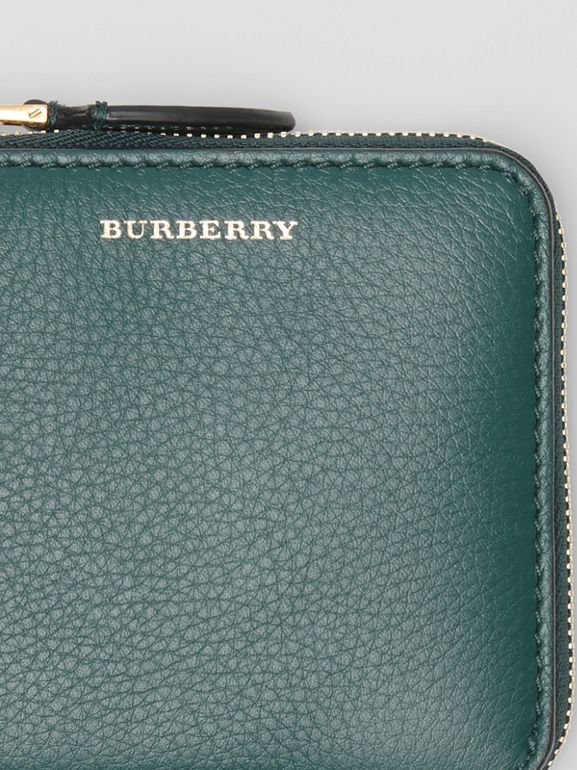 Grainy Leather Square Ziparound Wallet in Dark Cyan - Women | Burberry United Kingdom - cell image 1