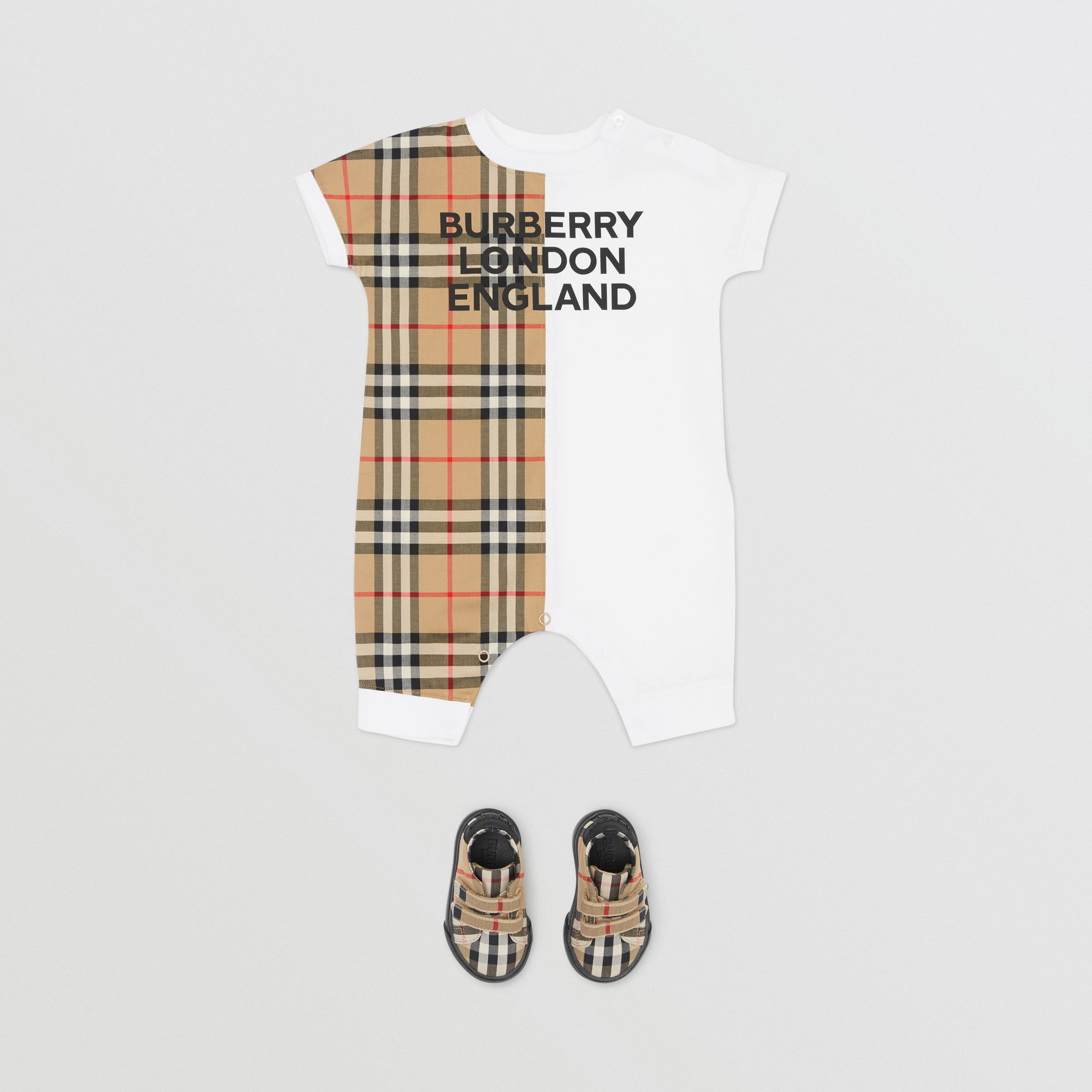 Vintage Check Panel Cotton Playsuit in White - Children | Burberry - 3