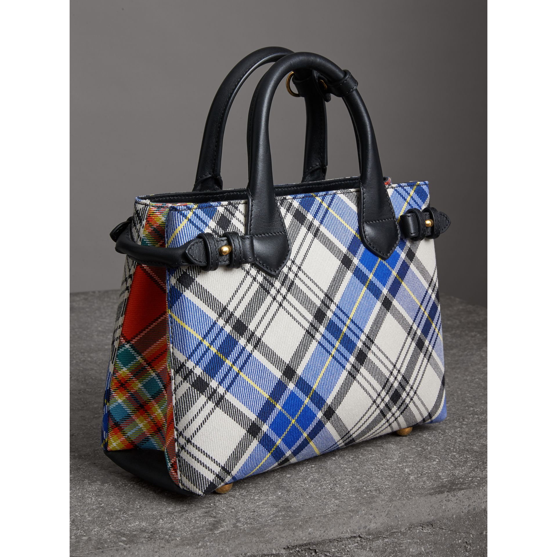 The Small Banner in Tartan and Leather in Chalk White - Women | Burberry Australia - gallery image 4