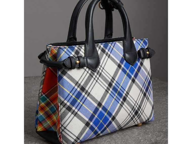 The Banner piccola in cotone tartan e pelle (Bianco Gesso) - Donna | Burberry - cell image 4
