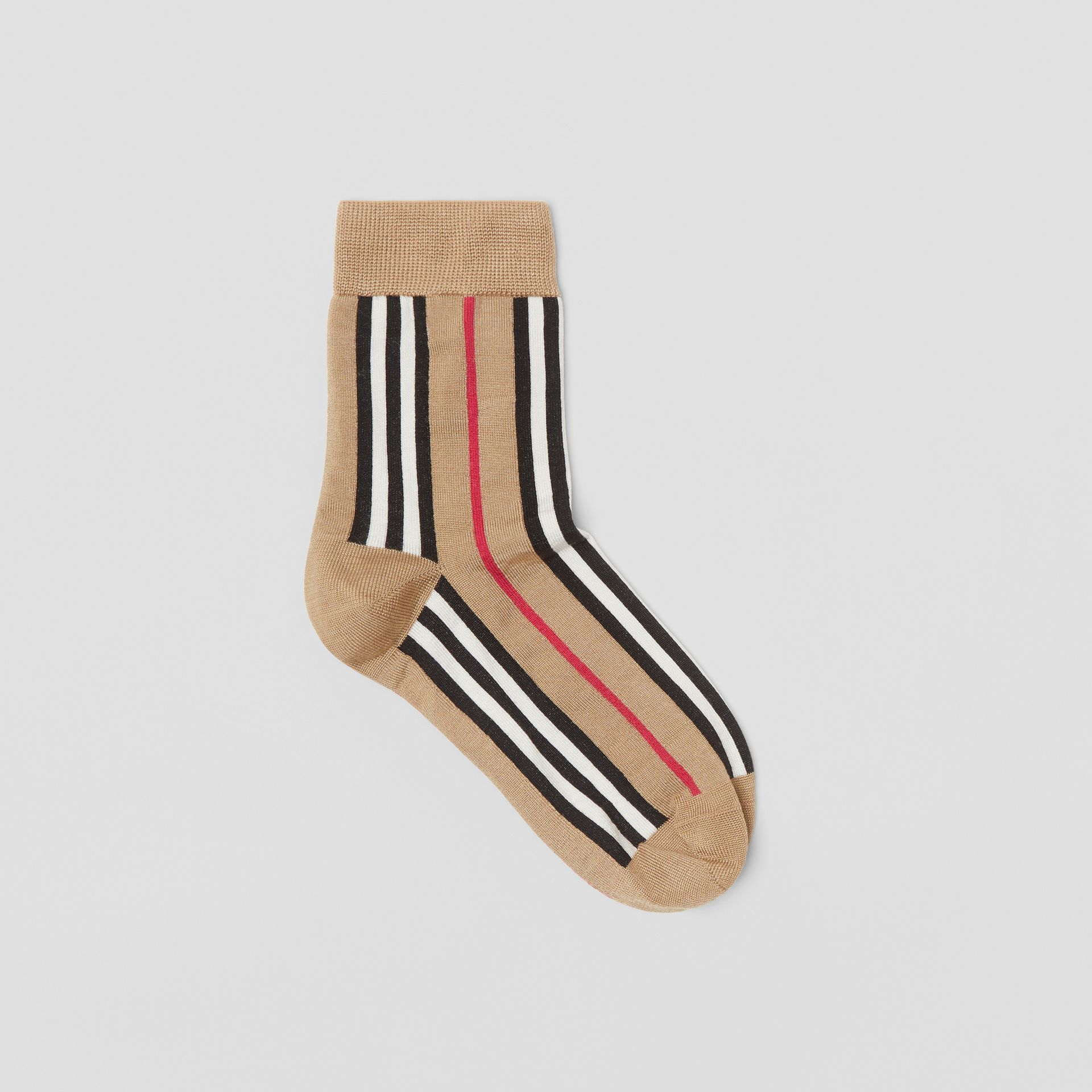 Icon Stripe Intarsia Ankle Socks in Archive Beige | Burberry - gallery image 0
