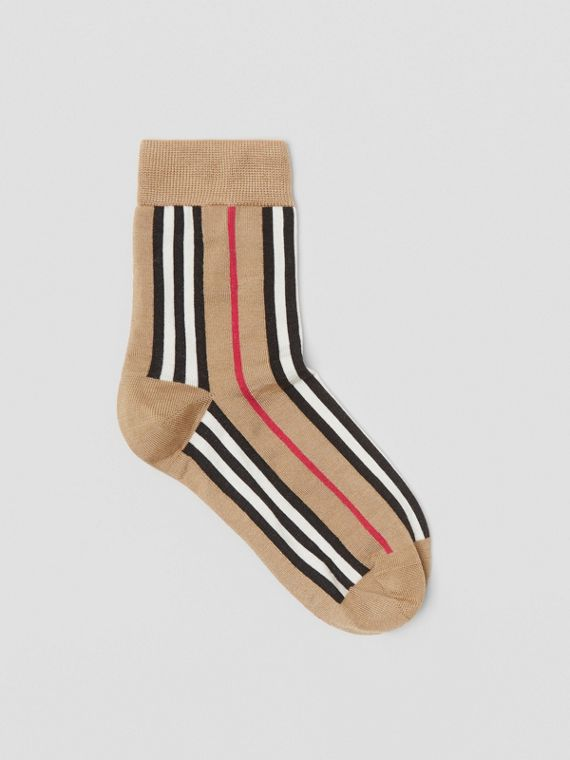 Icon Stripe Intarsia Ankle Socks in Archive Beige