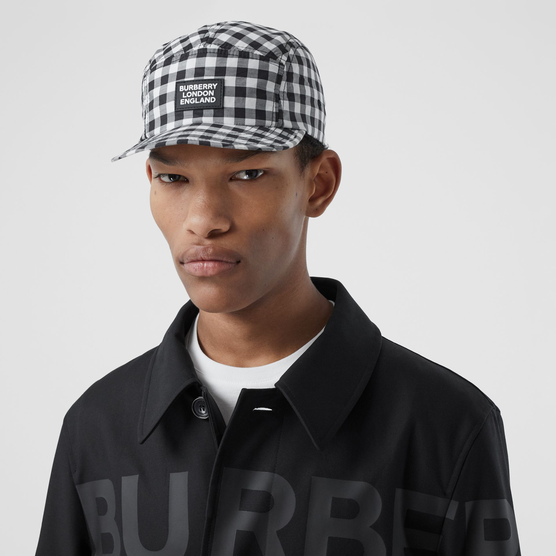 Logo Appliqué Gingham Cotton Cap in Black/white   Burberry United States - gallery image 3