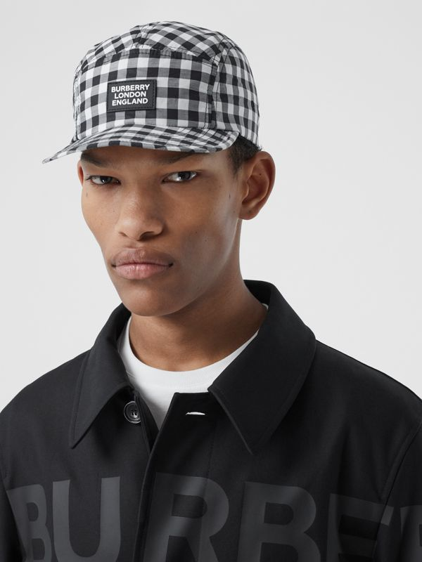 Logo Appliqué Gingham Cotton Cap in Black/white   Burberry United States - cell image 3