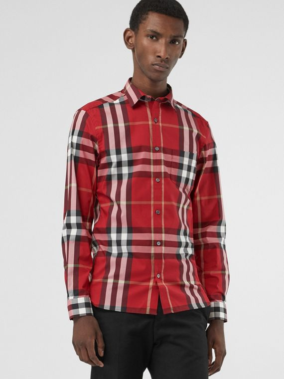 Check Stretch Cotton Shirt in Parade Red