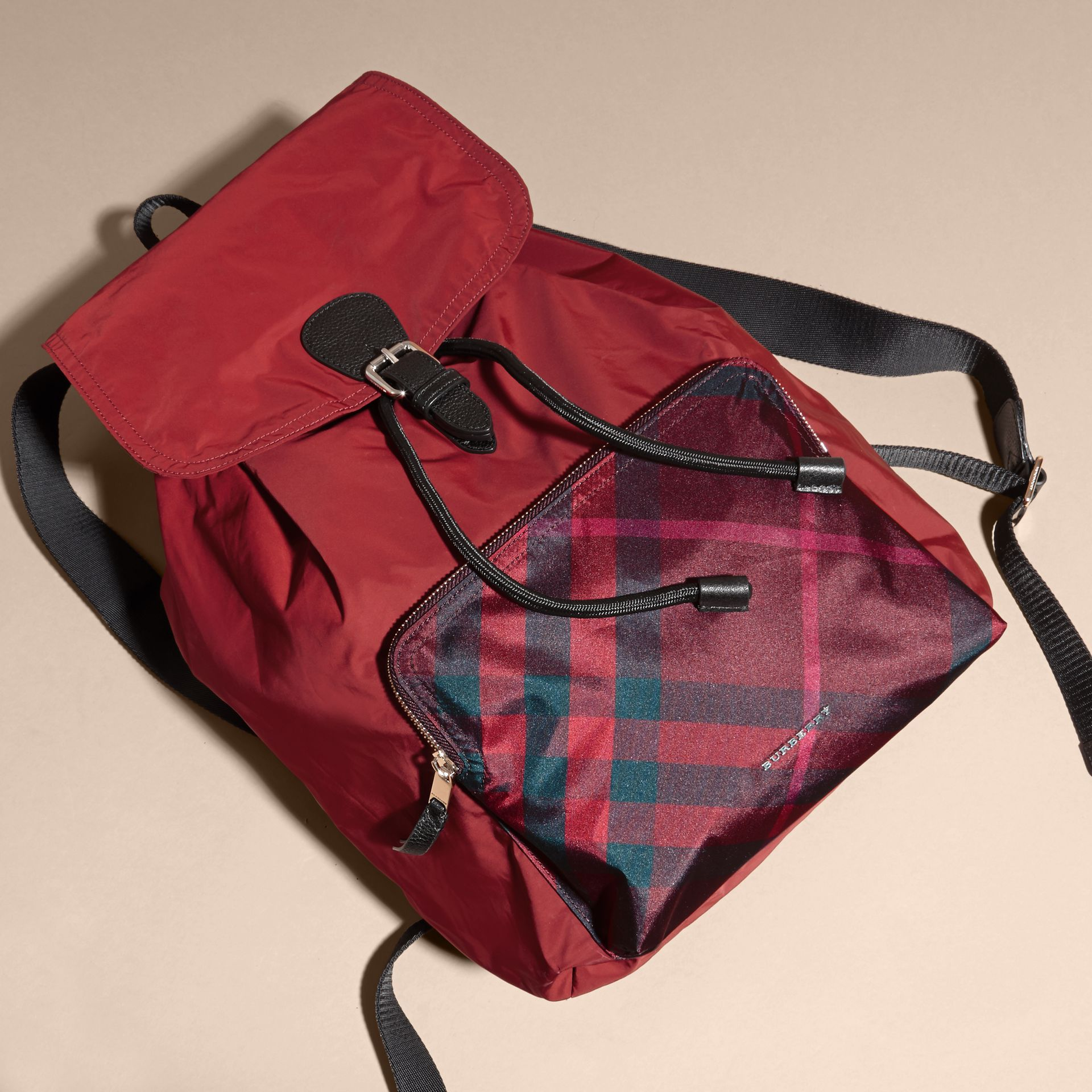 Check Detail Technical Packaway Rucksack Hawthorn Red - gallery image 7