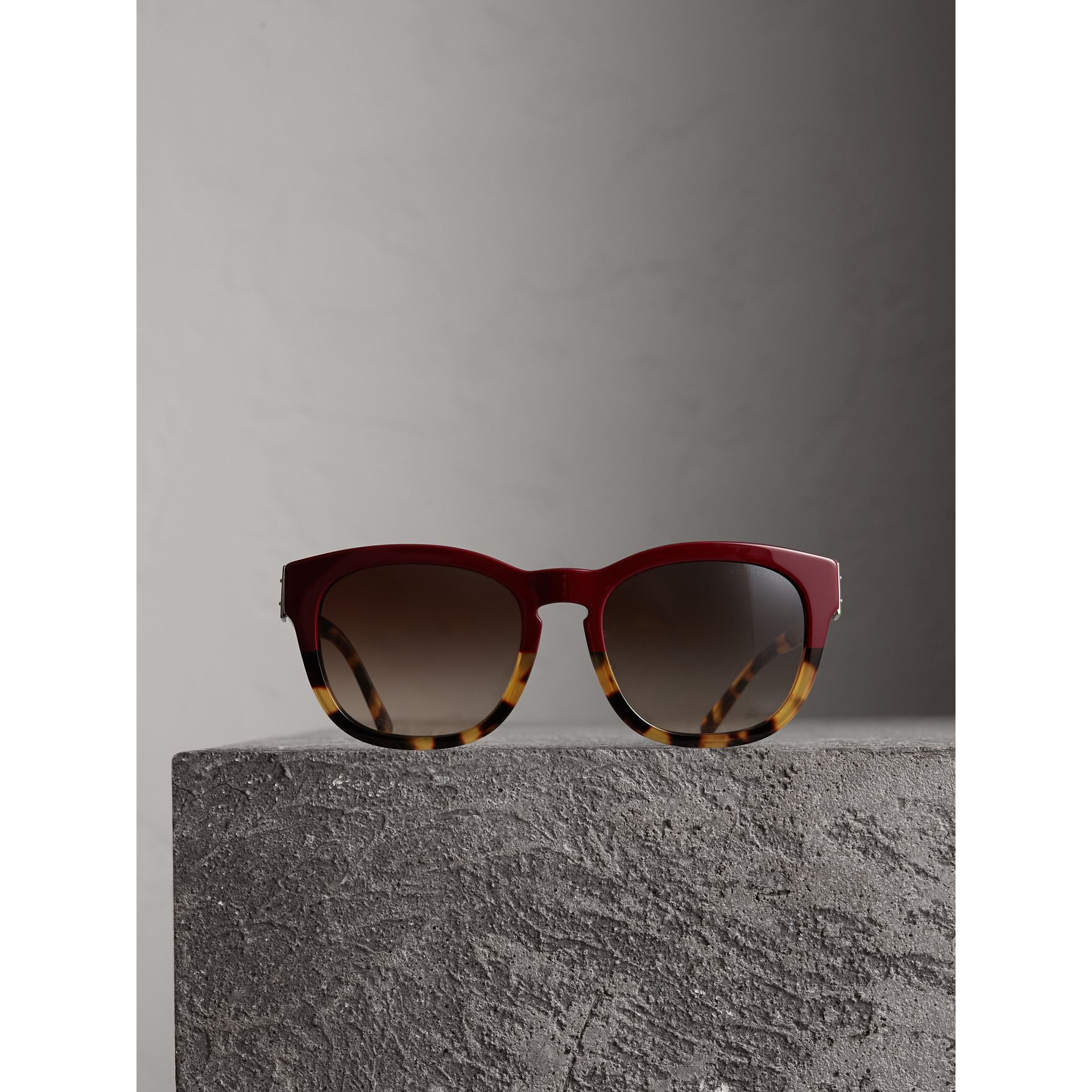 Buckle Detail Square Frame Sunglasses in Burgundy - Women | Burberry - gallery image 3
