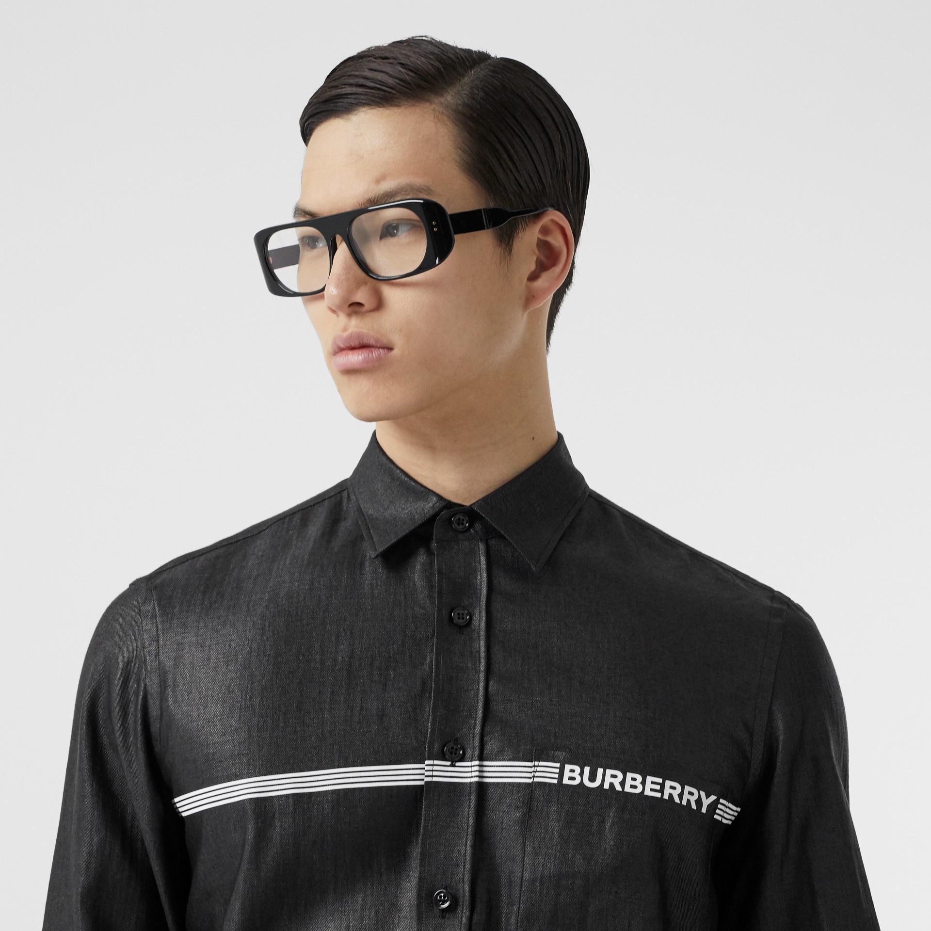 Logo Print Linen Blend Shirt in Black | Burberry - gallery image 1