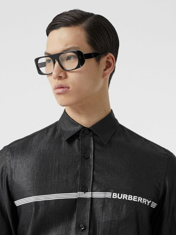 Logo Print Linen Blend Shirt in Black | Burberry Australia - cell image 1
