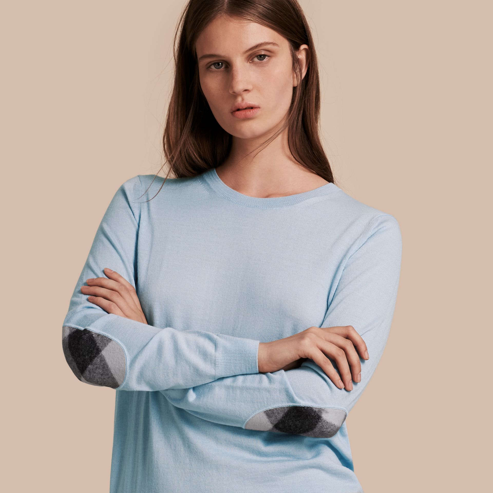 Pale cornflower blue Check Detail Merino Crew Neck Sweater Pale Cornflower Blue - gallery image 1