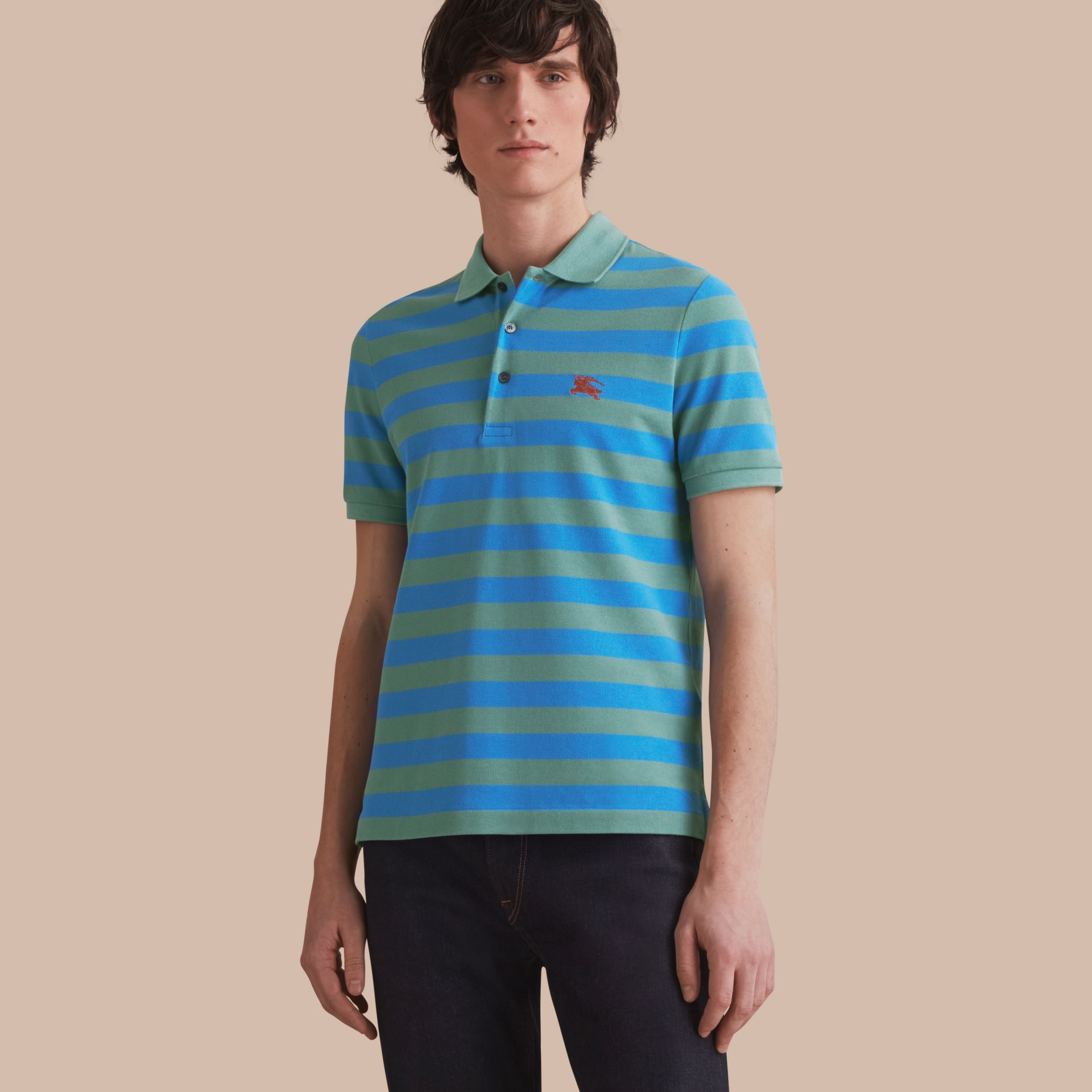 Striped Cotton Polo Shirt Eucalyptus Green/chalk Blue - gallery image 1