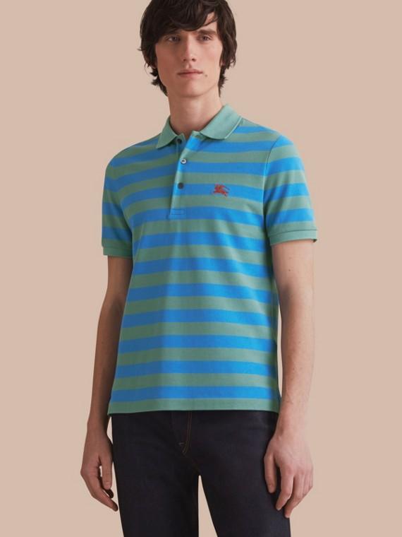 Striped Cotton Polo Shirt Eucalyptus Green/chalk Blue