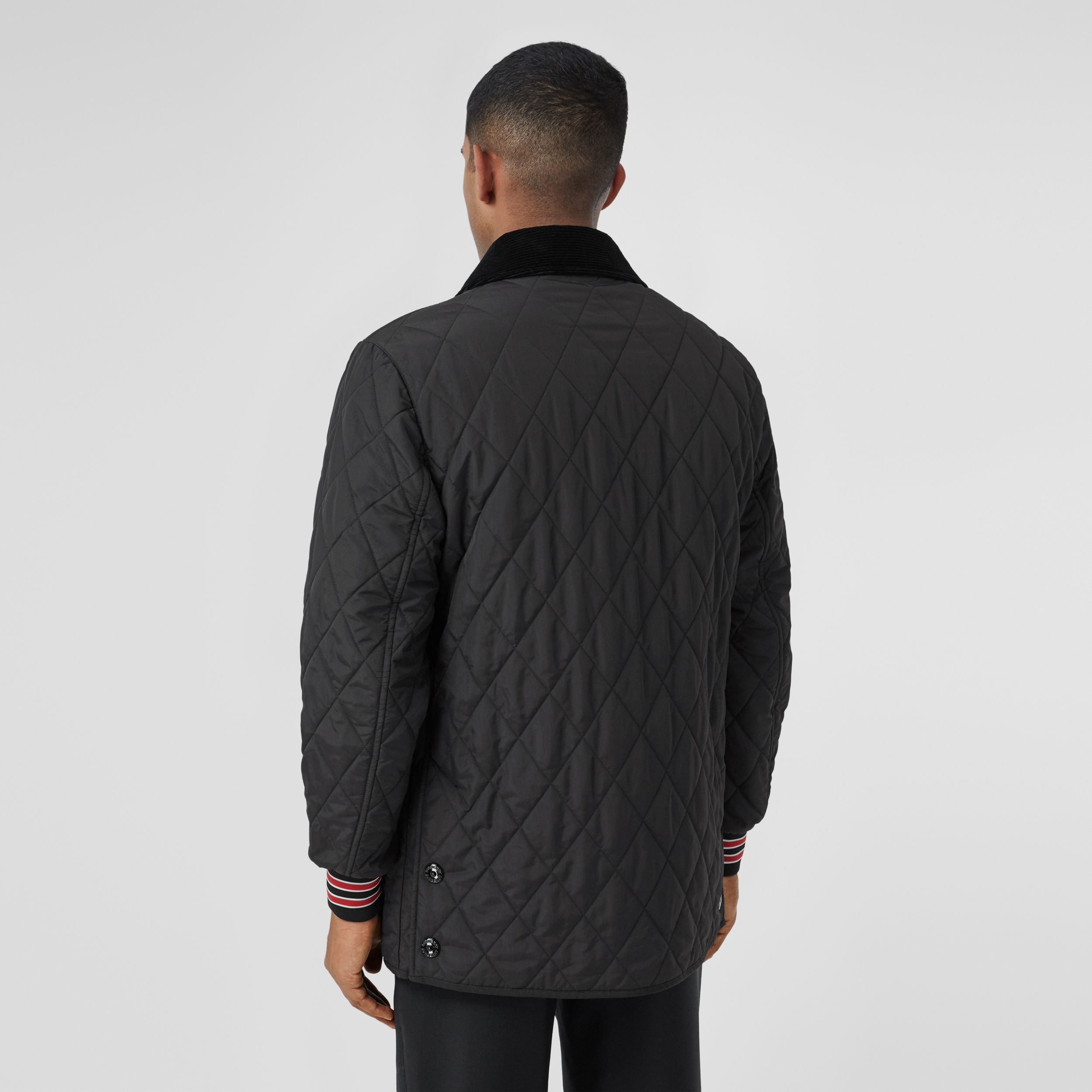 Striped Trim Diamond Quilted Barn Jacket in Black - Men | Burberry - 3