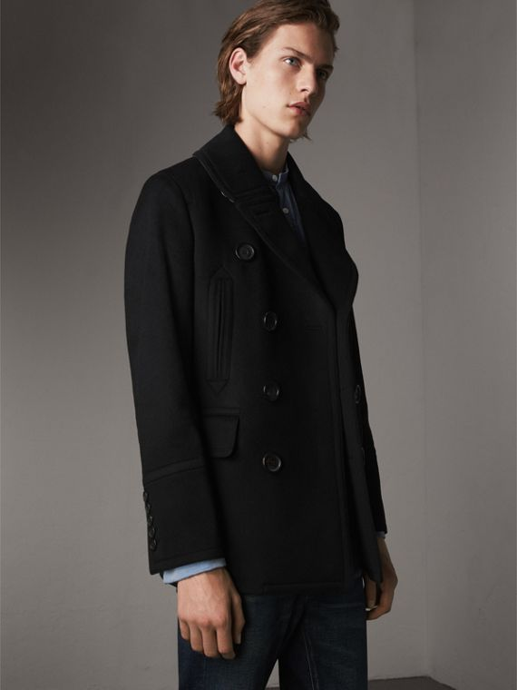 Wool Cashmere Pea Coat in Black