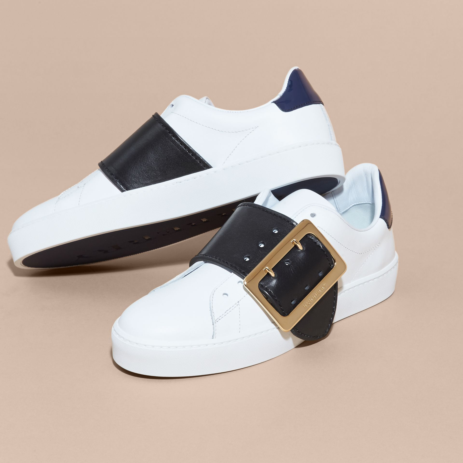 Buckle Detail Leather Trainers in Optic White/navy - gallery image 3