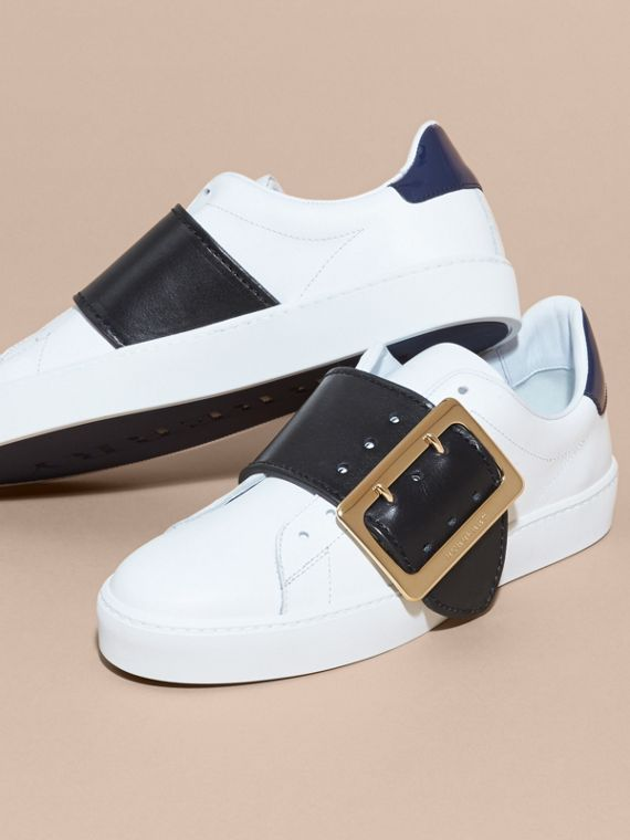 Buckle Detail Leather Trainers in Optic White/navy - cell image 2