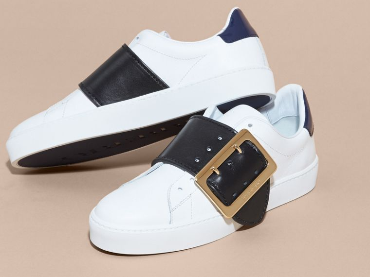 Buckle Detail Leather Trainers