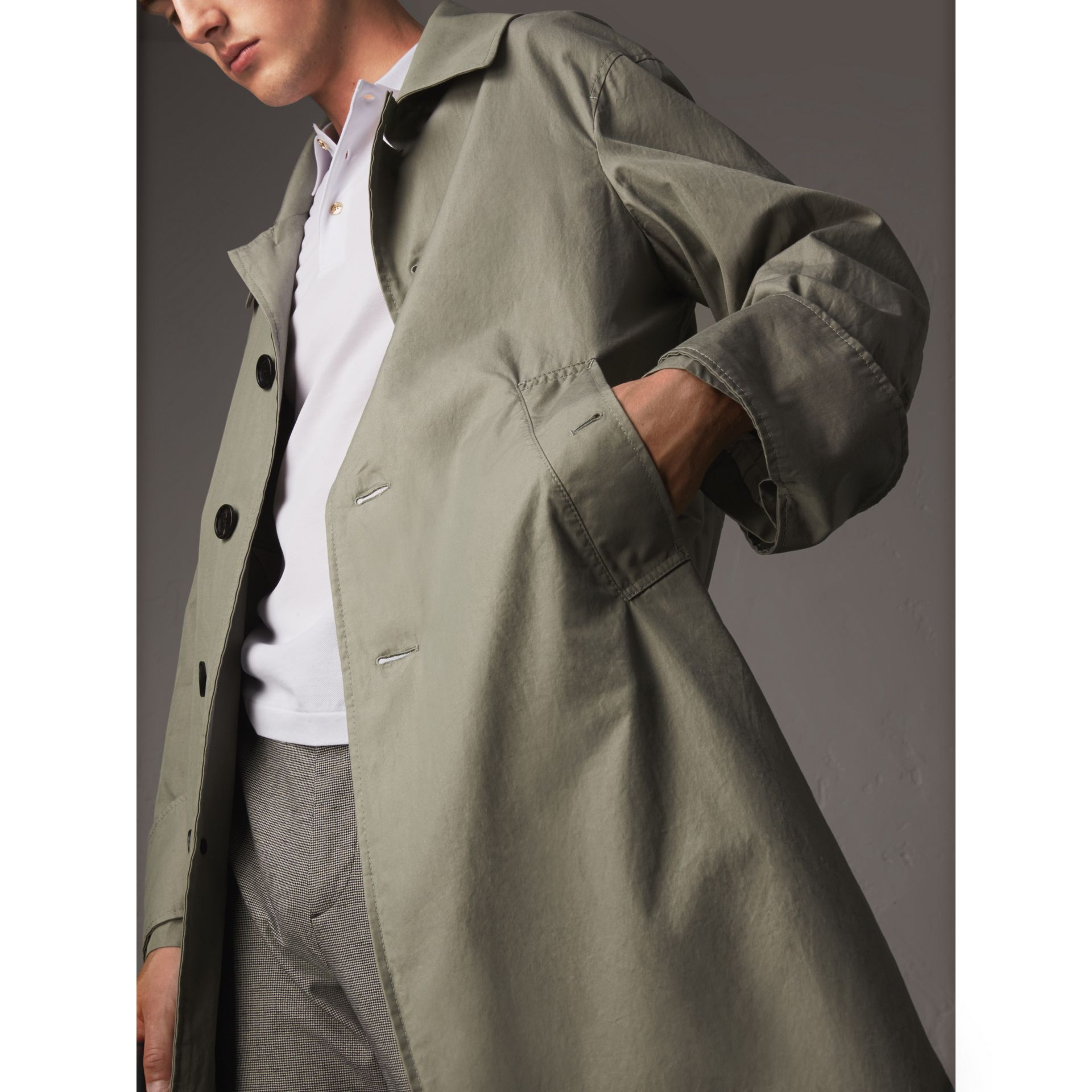 Unisex Tropical Gabardine Car Coat with Exaggerated Cuffs in Slate Green - Men | Burberry - gallery image 5